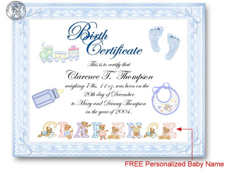 Template for certificate of achievement baby search for Boy birth certificate template