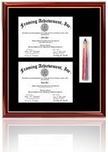 double diploma frame with double tassel box this frame will hold 2 diplomas and 2